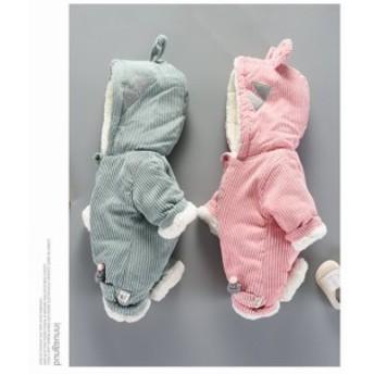 2色 激安可愛いベビーロンパース 中綿入オールインワン/冬用カバーオール 赤ちゃん子供服ダウンコートもこもこダウン出産祝い