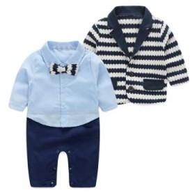 baby赤ちゃん春ジャケットロンパースセットアップスーツ