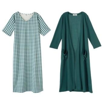 2点セット(ロング丈カーディガン+ワンピース)(オトナスマイル) (大きいサイズレディース)ワンピース, plus size dress, 衣裙, 連衣裙