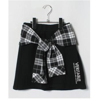 Lovetoxic チェックシャツウエスト巻き風裏毛台形スカパン(ブラック)【返品不可商品】