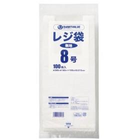 (まとめ) スマートバリュー レジ袋 8号 100枚 B908J〔×50セット〕