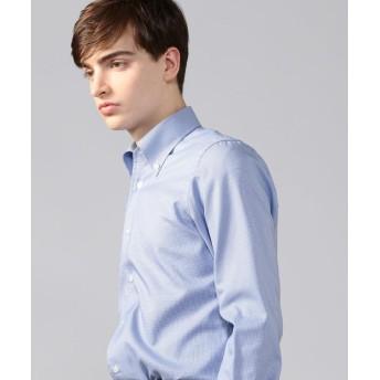 トゥモローランド 120/2コットンハウンドトゥース ワンピースボタンダウン ドレスシャツ メンズ 65ブルー L 【TOMORROWLAND】