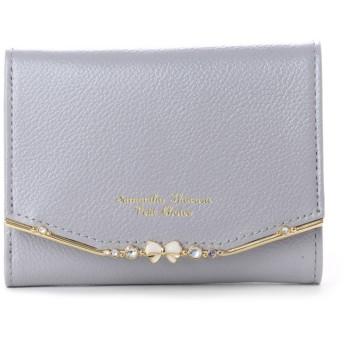 サマンサタバサプチチョイス リボンバー金具シリーズ折財布 ダルブルー