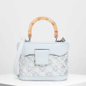 ウーブン トップハンドルバッグ / Woven Top Handle Bag (Light Blue)