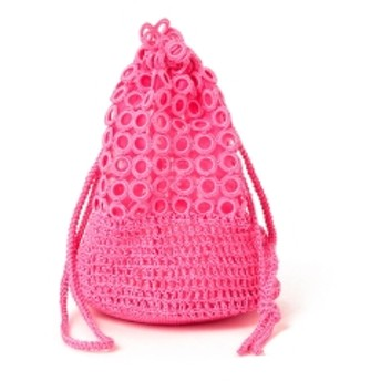 Casselini / リング編み 巾着 レディース ショルダーバッグ PINK ONE SIZE