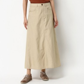 スカート レディース ロング やわらかコットンツイルのマキシスカート(デニム・カラー) 「サンドベージュ」