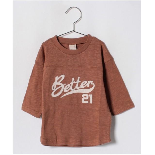 petit main ベースボール風ロゴTシャツ(キャメル)【返品不可商品】