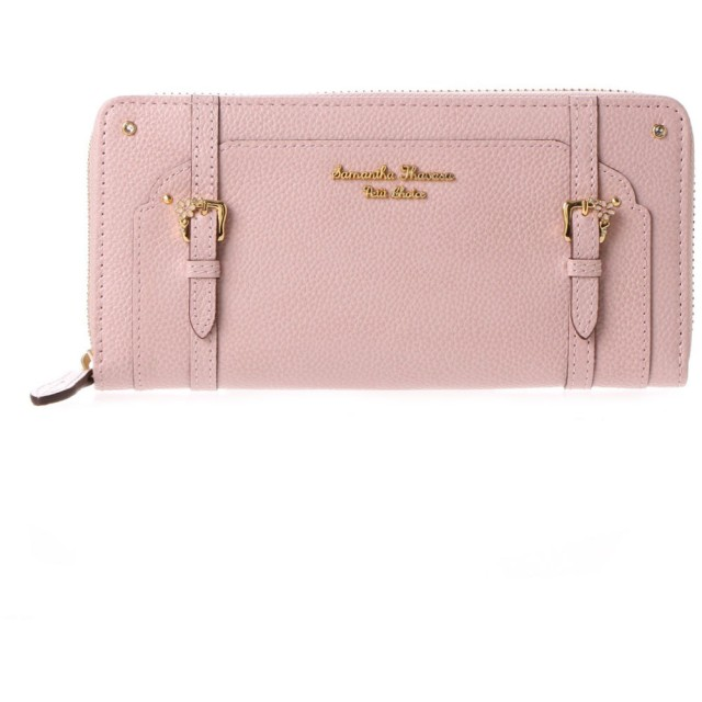 サマンサタバサプチチョイス フラワーベルトモチーフ ラウンドジップ長財布(ピンク)