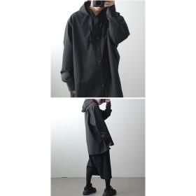 シャツ - minsobi 【MSB】2color フードシャツ 長袖 メンズ メンズファッション ウィンドブレーカー メンズ アノラック 春物 メンズカジュアルシャツ メンズ フードシャツ モード系 メンズ シャツ フード ミンソビ 【code-minsobi】