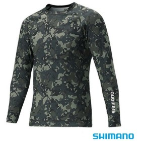 【8%OFFクーポン対象店舗】シマノ サンプロテクションロングスリーブシャツ ブラックウィードカモ IN-061Q M~XL (フィッシングシャツ)