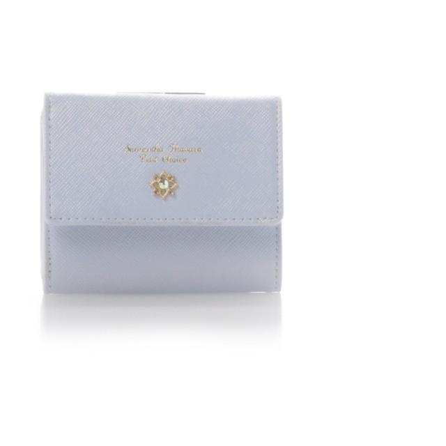 サマンサタバサプチチョイス フラワーモチーフシリーズがま口折財布 ライトブルー