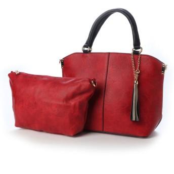 フィラノ FIRANO バイカラーフリンジチャーム2WAYハンドバッグ(ショルダーバッグ付き) (RED)