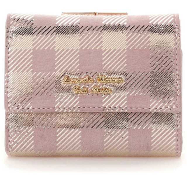 サマンサタバサプチチョイス ピッグレザーチェックシリーズ 折財布 ラベンダー