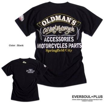 OIL LEAK Tシャツ バイカー ロゴ プリント メンズ 半袖 ビンテージ バックプリント 大きいサイズ ゆったり モーターサイクル