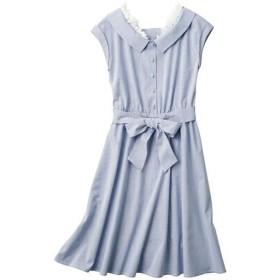 【レディース】 共地リボンベルト付きシャツワンピース - セシール ■カラー:ブルー系 ■サイズ:L,M,S