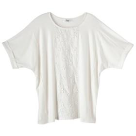 5分袖刺しゅう切替ゆるシルエットカットソープルオーバー(オトナスマイル) (大きいサイズレディース)Tシャツ・カットソー