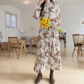 2019年春♪カラバリ3色♪フリルネック シフォン フラワー柄 ロング マキシ ワンピース