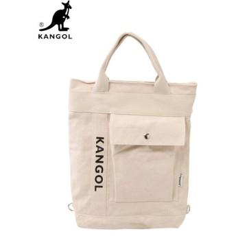 【国内発送・送料無料】 KANGOL (カンゴール) KGSA-BG00027 3WAY TOTE BAG (トートバッグ / ショルダーバッグ / リュック) White (ホワイト)
