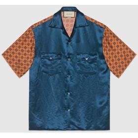 オンライン限定 バイマテリアル プリント ボーリングシャツ