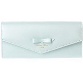 サマンサタバサデラックス リボンデザイン かぶせ長財布 エメラルドグリーン
