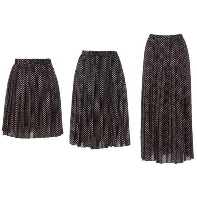 ユメテンボウ 夢展望 選べる3丈プリーツスカート (ドット柄ブラック)