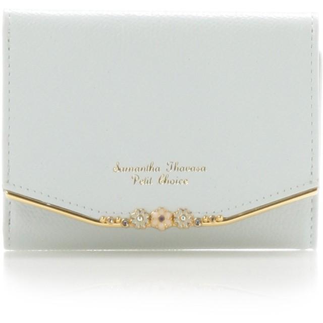 サマンサタバサプチチョイス フラワーバー金具シリーズ折財布 ライトブルー