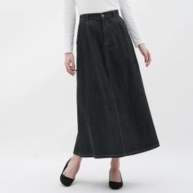 GU デニムフレアマキシスカート