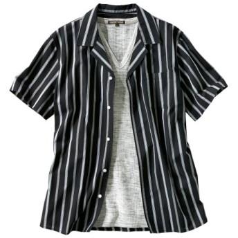 2点セット(ストライプ柄オープンカラー半袖シャツ+ワッフルTシャツ) カジュアルシャツ