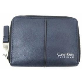 【中古】カルバンクライン CALVIN KLEIN PLATINUM コインケース カード付き 小銭入れ 財布 紺 ネイビー B05875 メンズ