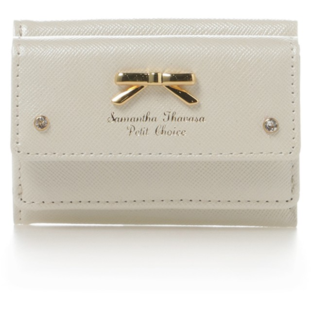 サマンサタバサプチチョイス シンプルリボンプレートミニ財布 ホワイト