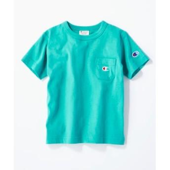 Champion ワンポイントポケット付きクルーネックTシャツ キッズ ターコイズ