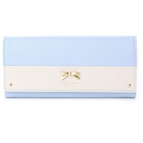 サマンサタバサプチチョイス バイカラーシンプルリボンモチーフ 長財布(ライトブルー)