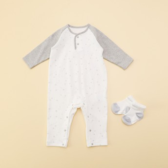 コムサイズム COMME CA ISM 【ギフトセット】新生児用 カバーオール&ソックスセット (ライトグレー)