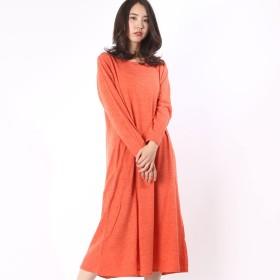 カンカン KANKAN フワフワカットソーロングドレス (オレンジ)