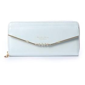 サマンサタバサプチチョイス リボンバー金具エナメルシリーズ(ラウンドジップ長財布) ライトブルー