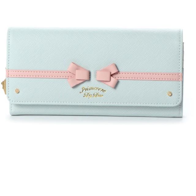 プリムヴェールリズリサ Primevere LIZ LISA アメリ リボン&配色長財布 (ブルー)