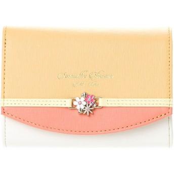 サマンサタバサプチチョイス バイカラーフラワーシリーズ 折財布(オレンジ)