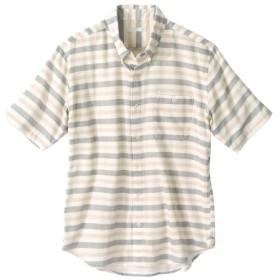 ダブルガーゼボーダー柄ボタンダウン半袖カジュアルシャツ カジュアルシャツ