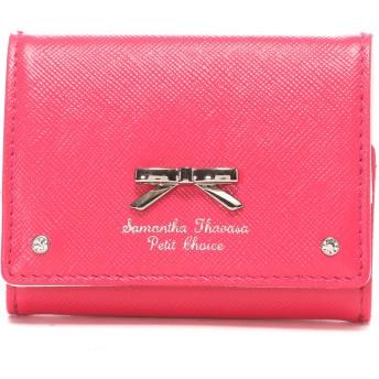 サマンサタバサプチチョイス シンプルリボンプレート ミニ財布 フューシャピンク