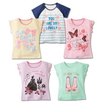 女の子柄プリントTシャツ5枚組(女の子 子供服。ジュニア服)薄手素材 Tシャツ・カットソー