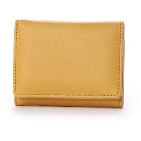 ナナノエル Nananoel sauvage スムースレザー配色三つ折りミニ財布 (イエロー)