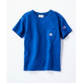 Champion ワンポイントポケット付きクルーネックTシャツ キッズ ブルー