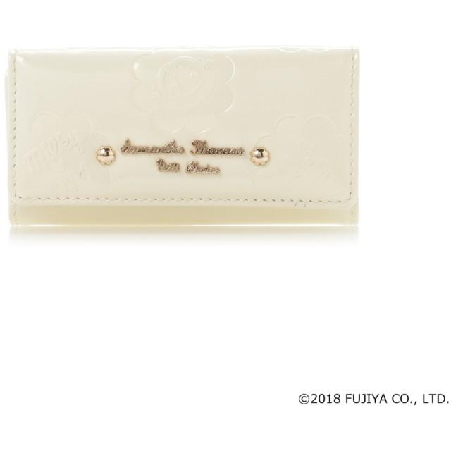 サマンサタバサプチチョイス ペココレクション エナメル型押し キーケース オフホワイト