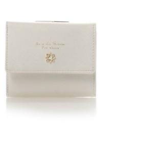 サマンサタバサプチチョイス フラワーモチーフシリーズがま口折財布 オフホワイト