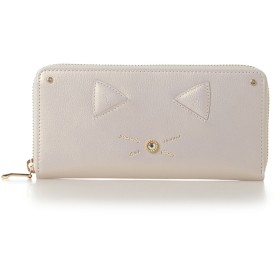 サマンサタバサプチチョイス ネコモチーフシリーズ(ラウンドジップ長財布) オフホワイト