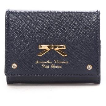 サマンサタバサプチチョイス エナメルシンプルリボン3折ミニ財布 ネイビー