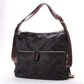ベース BASE 【2WAY】 ナイロンバッグ さりげないカモフラージュ柄 ショルダー リュックにも 機能的バッグ (ブラック)