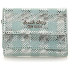 サマンサタバサプチチョイス ピッグレザーチェックシリーズ ミニ財布 ミント