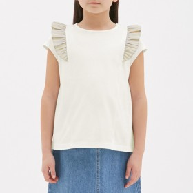 (GU)GIRLSストライプフリルT(半袖) OFF WHITE 140