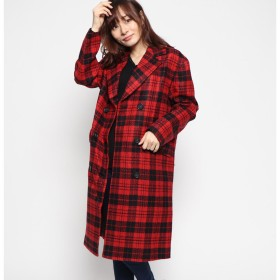 ゲス GUESS ROSE EMBROIDERY CHECK WOOL COAT (RED)